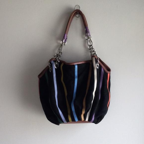 d89bd2c22dd MODA BARBARINI Bags   Boho Striped Black Suede Hobo Handbag With ...